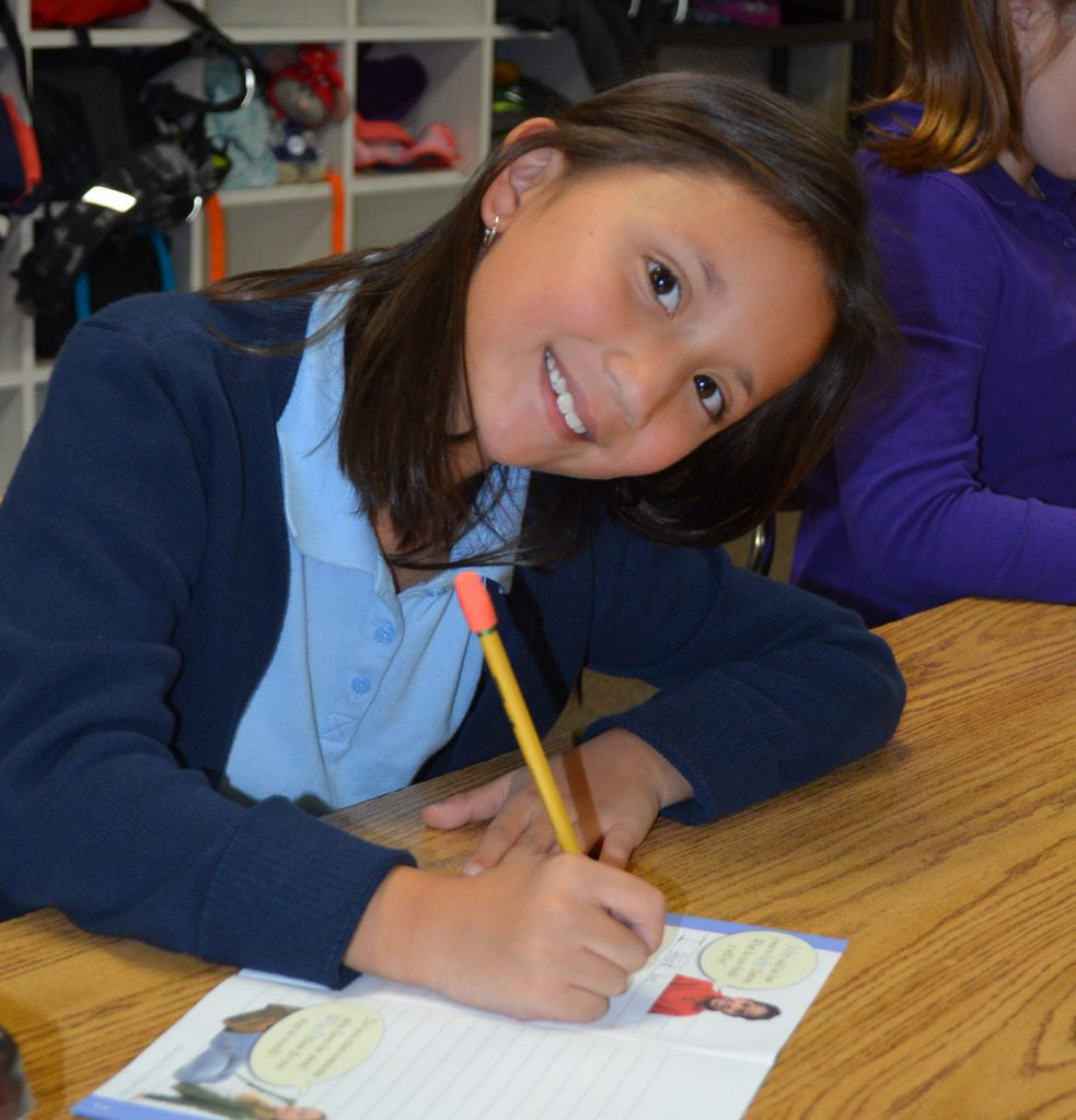 Second Grader Writing